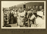 Picture relating to Mount Isa - titled 'Crowd of well-wishers at Mt. Isa Railway Station to farewell Mr Plass, 1932'